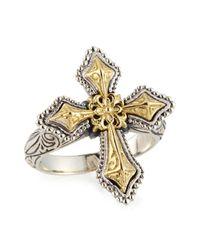 Konstantino - Metallic Engraved Sterling Silver & Gold Cross Ring - Lyst