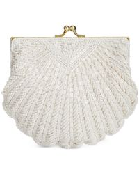 La Regale - White Beaded Shell Evening Clutch - Lyst