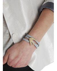 McQ | Gray Grey Swallow Leather Wrap Bracelet | Lyst
