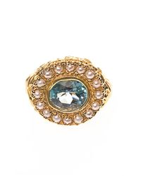 Jade Jagger | Metallic Aquamarine, Pearl & Gold-Plated Ring | Lyst