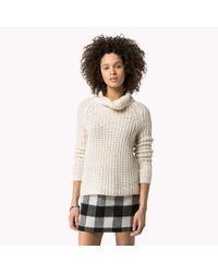 Tommy Hilfiger | Natural Ribbed Roll Neck Sweater | Lyst