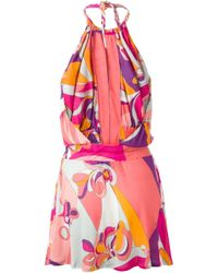 Emilio Pucci - Pink Printed Halter Dress - Lyst