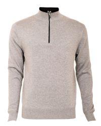 Cutter & Buck - Gray Zip Neck Lined Sweater for Men - Lyst