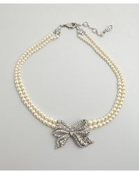 Ben-Amun | White Silver Crystal and Bow Pearl Choker Necklace | Lyst