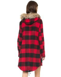 BB Dakota | Black Jaslene Buffalo Plaid Coat - Red | Lyst
