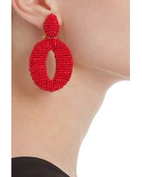 Oscar de la Renta - Red Oscar O Beaded Earrings - Lyst