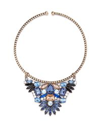 Forever 21 | Blue Rhinestone Flower Collar Necklace | Lyst
