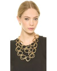 Oscar de la Renta - Metallic Circle Necklace - Russian Gold - Lyst