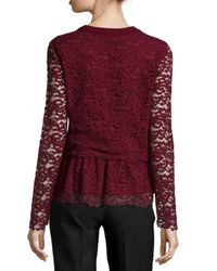 Tory Burch | Red Crochet Lace Peplum Sweater | Lyst