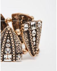 Oasis | Metallic Pave Arrowed Stretch Bracelet | Lyst