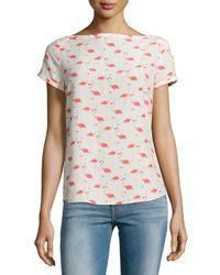 kate spade new york - Pink Short-sleeve Flamingo-print Top - Lyst