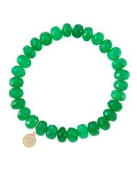 Sydney Evan - 8Mm Faceted Green Onyx Beaded Bracelet With 14K Yellow Gold/Diamond Small Disc Charm (Made To Order) - Lyst