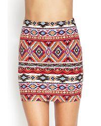 Forever 21 - Red Tribal Print Mini Skirt - Lyst