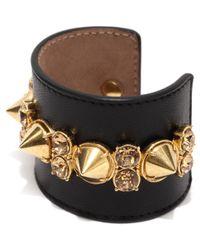 Alexander McQueen - Black Spike Leather Cuff - Lyst