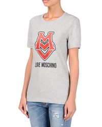 Love Moschino | Gray Short Sleeve T-shirts | Lyst