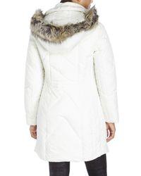 Anne Klein - White Faux Fur Trim Long Down Coat - Lyst