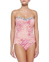 Tommy Bahama - Multicolor Medallion-print Bandeau One-piece Swimsuit - Lyst