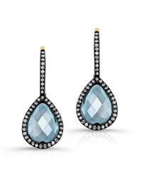 Anne Sisteron | 14kt Yellow Gold Blue Topaz Diamond Rose Cut Earrings | Lyst