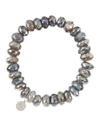 Sydney Evan | 10Mm Mystic Labradorite Beaded Bracelet With 14K White Gold/Diamond Small Disc Charm (Made To Order) | Lyst