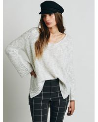 Free People | Gray Stella V-neck Pullover | Lyst