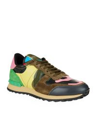 Valentino | Multicolor Psychedelic Camo Leather Sneaker | Lyst