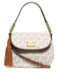 MICHAEL Michael Kors | Natural Jet Set Item Medium Tassel Convertible Shoulder Bag | Lyst