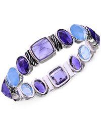 Jones New York - Purple Silver-tone Blue Stone Stretch Bracelet - Lyst