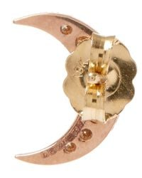 Andrea Fohrman | Pink Rose Gold Champagne Diamond Moon Stud Earring | Lyst