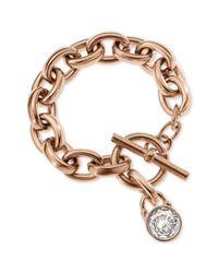 Michael Kors | Metallic Rose Goldtone Crystal Padlock Charm Bracelet | Lyst