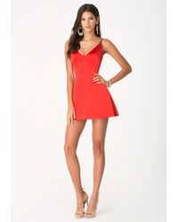 Bebe | Red V-Neck Satin Slip Dress | Lyst