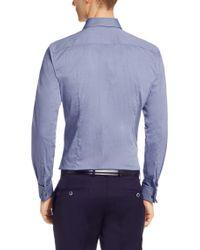 BOSS - Blue Textured Regular-fit Shirt: 'gordon' for Men - Lyst