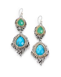Alexis Bittar | Blue Elements Cholulian Turquoise, Chrysoprase & Crystal Feather Drop Earrings | Lyst