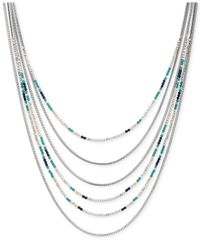 Lucky Brand - Metallic Silver-tone Beaded Multi-row Necklace - Lyst