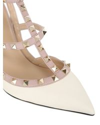 Valentino | Natural 100mm Rockstud Leather Pumps | Lyst