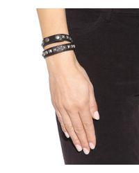 Saint Laurent - Black Embellished Leather Bracelet - Lyst