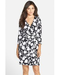 Charles Henry | Black Print Jersey Wrap Dress | Lyst