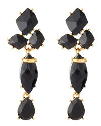 Oscar de la Renta - Triplecrystal Drop Earrings Black - Lyst