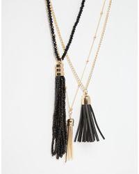 ALDO | Black Lapin Layering Tassel Necklace | Lyst