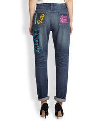 Marc By Marc Jacobs - Blue Annie Printed Boyfriend Jeans - Lyst