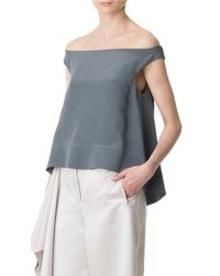Tibi | Gray Silk Off-the-shoulder Top | Lyst