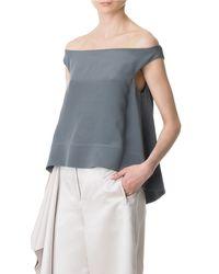 Tibi - Gray Silk Off-the-shoulder Top - Lyst
