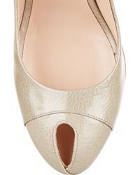 Sergio Rossi - Natural Cachet Textured Patent-Leather Peep-Toe Pumps - Lyst