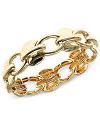 Anne Klein - Metallic Gold-tone Open Link Stretch Bracelet - Lyst