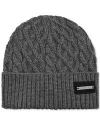 Sean John | Gray Cuffed Cable-Knit Beanie for Men | Lyst