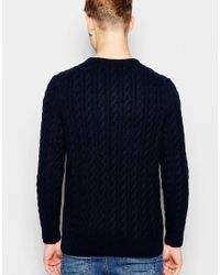 Lyle & Scott - Blue Sweater With Cable Knit for Men - Lyst