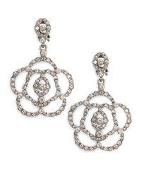 Oscar de la Renta | Metallic Swarovski Crystal Flower Clip-on Earrings | Lyst