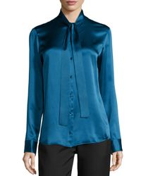 The Row | Blue Tipet Silk Tie-neck Blouse | Lyst