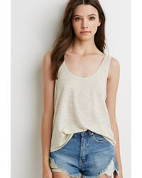 Forever 21 | Natural Sheer Linen Tank | Lyst