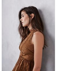 Free People - Brown Verushka Mini Dress - Lyst