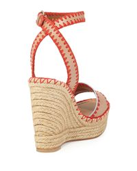 Valentino - Natural Stitched Leather Wedge Espadrilles - Lyst
